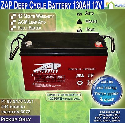 "130AH AMP HOUR BATTERY DEEP CYCLE AGM 130ah 12v ""ZAP"" (Pickup)"