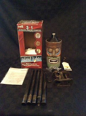 NIB 3 In 1 Tiki Island Lights Tiki Face Outdoors Stone Resin See Night