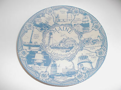 """Vintage Collectors Plate MAINE THE LIGHTHOUSE STATE 8"""" Faded Blue 8 Lighhouses"""