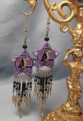 TOUCAN Bird Hand Painted Long Dangle Earrings Toucan Sam Handcrafted