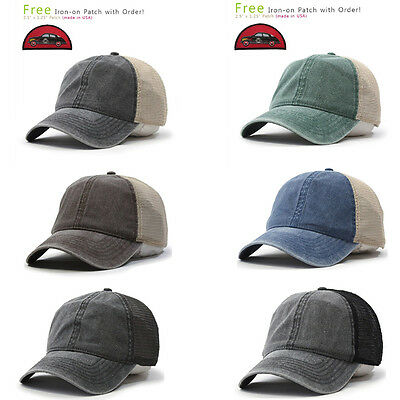 New Vintage Washed Cotton Soft Mesh Adjustable Baseball Hat(FREE Patch)