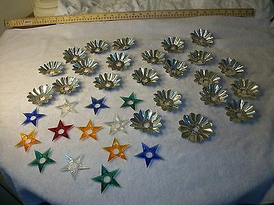 Vtg. Christmas Light 23 Aluminum Foil Silver Flowers, 13 Plastic Star Reflectors
