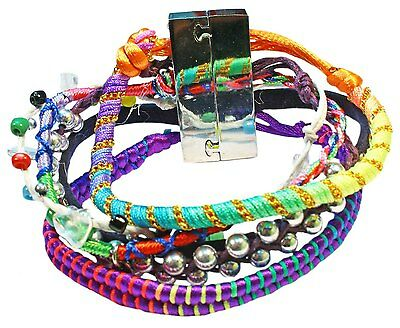 Bulk lot x 12 - multi strand bracelets - purple tones