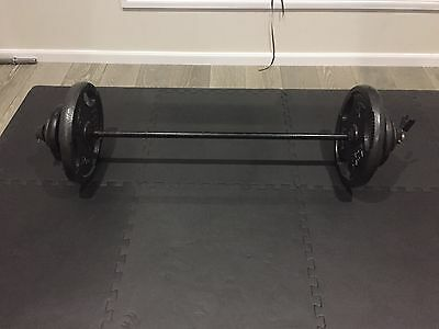 137CM Black BARBELL Bar With Weights & 2 FREE SPRING COLLARS