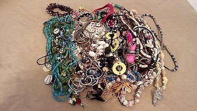 MIXED JEWELRY GRAB BAG LOT - EARRINGS, NECKLACES & BRACELETS 3.2Lbs