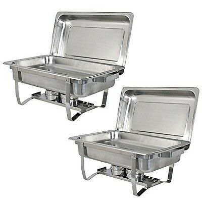 Breakfast Buffet Chafer Warmers Food Server Chafing Dish Set For 2 Sale Steel 8