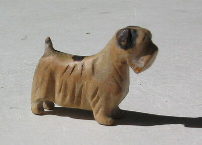 Sealham Terrier  Vintage Carved Wood Figurine