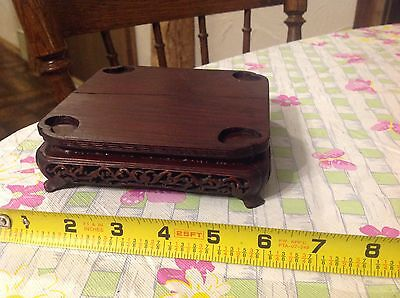 Antique Vintage ASIAN Wood Display Stand Hand Carved Chinese/Japanese - 6 Inch