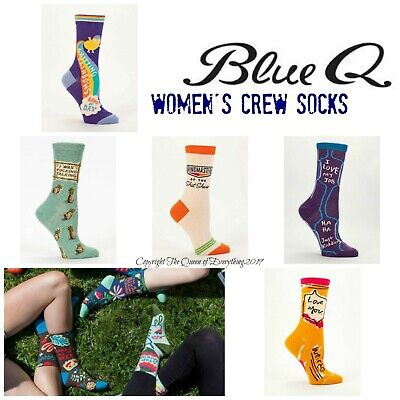 Buy 1 Get 1 50% OFF (Add 2 to Cart) Blue Q Women's Crew Socks  ❤️ Size 5-10