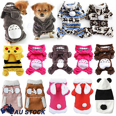 Warm Winter Hoodie Jumpsuit Coat Jacket Clothes Costume For Pet Dogs Cat Puppy