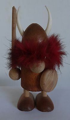 VINTAGE MID CENTURY 1960s SOUVENIR made in DENMARK WOOD VIKING FIGURE