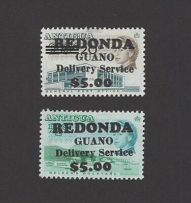 Antigua Redonda Guano Delivery Service $5.00 overprints on Antigua QEII 2v MNH
