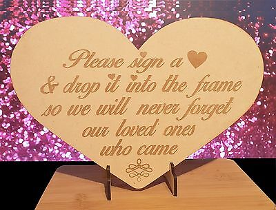 Engraved Heart Sign for Wooden Wedding Heart Drop Box Guest  Book, free stand