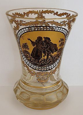 Antique Bohemian heavy glass gilded and painted vase.