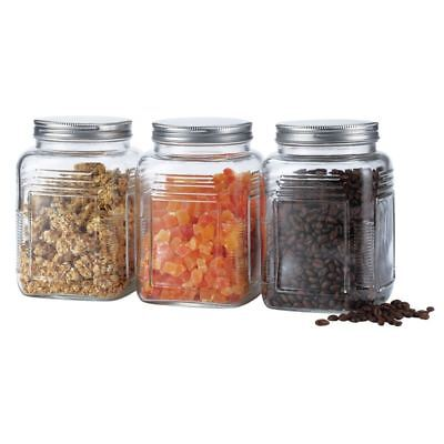 Benzer - Retro Set of 3 Glass Storage Jars with Brushed Metal Lids