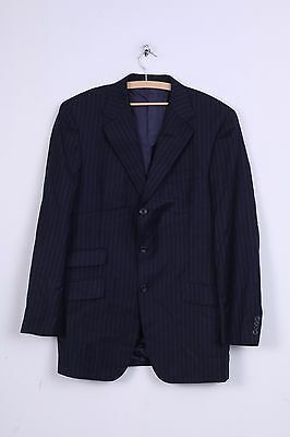 TM Lewin Mens L Jacket Navy Blue Cotton Striped Blazer Wool Single Breasted Shou
