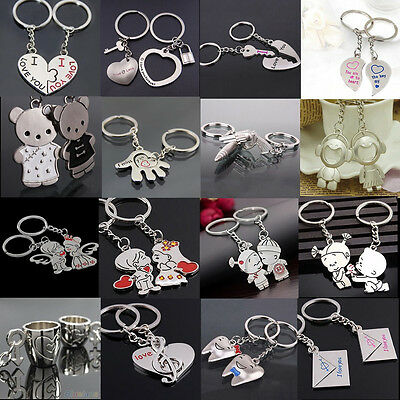 2Pcs Love Heart Symbols Key Chain Ring Keyring Keyfob Lover Couple Gift Unique