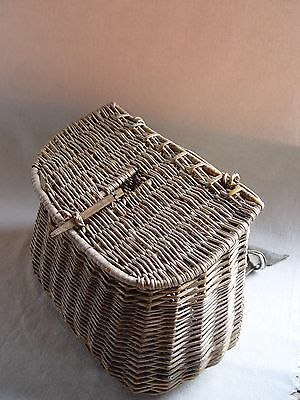 Ancien Panier De Peche En Osier  Vannerie Old Fishing Wicker Basket Pp3