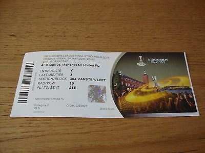 Manchester United V Ajax 24-5-17 Europa League Final Ticket Stockholm No Name