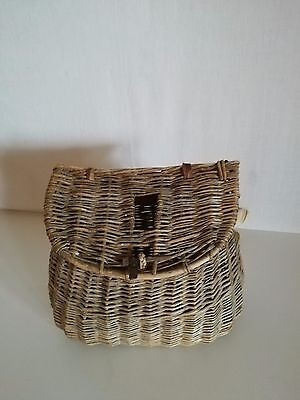 Ancien Panier De Peche En Osier  Vannerie Old Fishing Wicker Basket Pp4