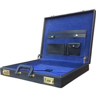 Masonic Briefcase Style Apron Case In Black With Blue Velvet Interior