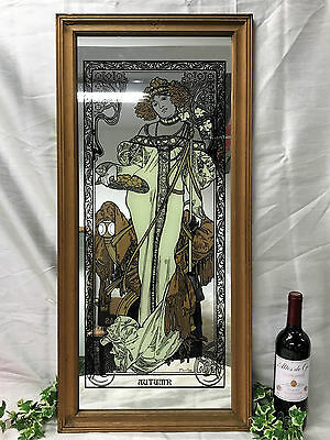 Alphonse Mucha Art Nouveau Style Reproduction Large Rectangular Mirror 'Autumn'