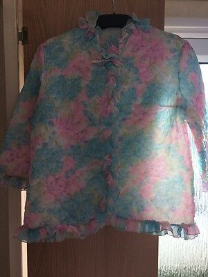 Vintage Nylon Quilted Pink & Blue Bed Jacket XL