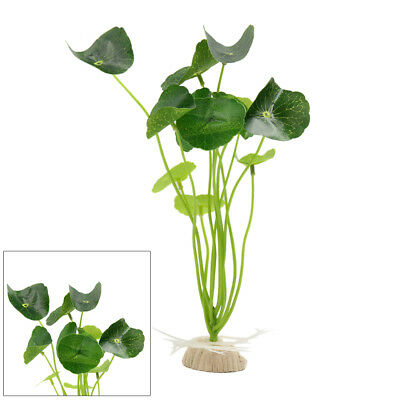 Green Plastic Grass Aquarium Fish Tank Decor Water Plant Ornament w Ceramic Base