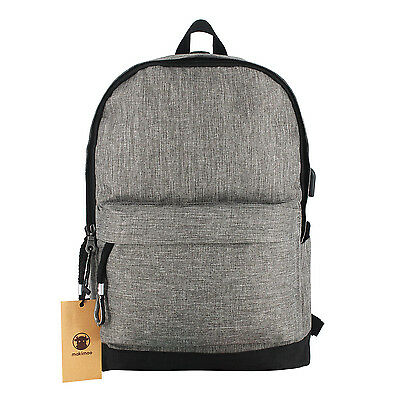 Makimoo Water Resistant Polyester with USB Charging Port Backpack Grey
