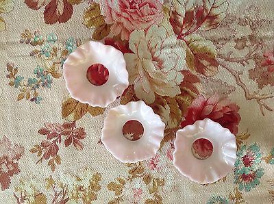 Three  Vintage Pink Opaline Milk Glass Candle Drip Rings