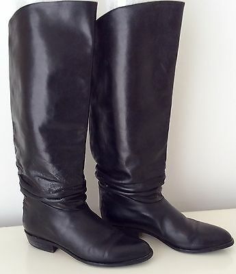 Vintage 1990s Black Italian Leather Boots Roland Cartier Size 40