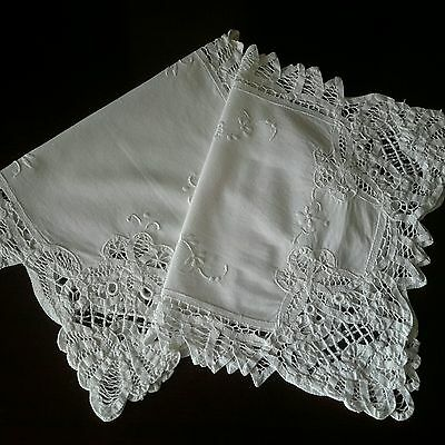 Set of 2 Vintage White Doilies Centrepieces Cutwork