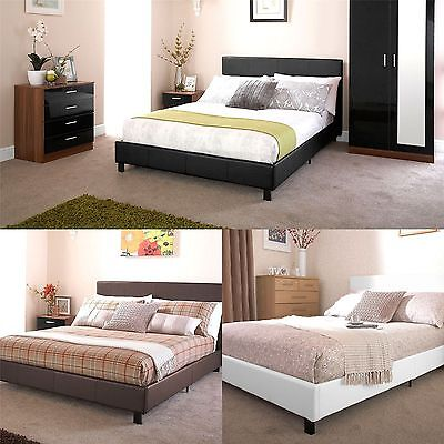 leather pu ottoman storage or non sortage leather bed 3ft 4ft6 5ft black white