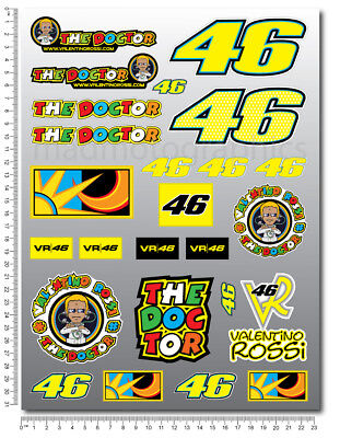 Vale Rossi The Doctor 46 decals 9.4x12.6'' sheet 25 stickers MotoGP Yamaha M1