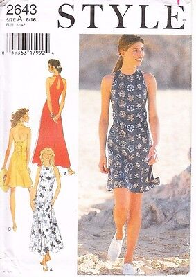 Style Ladies Dress Halter Sewing Pattern Misses Size 6 8 10 12 14 16