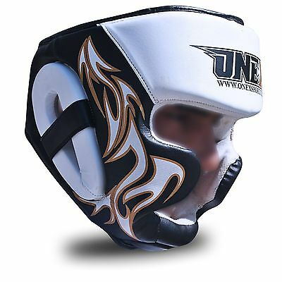 MMA Boxing Head Guard Helmet UFCTraining Fight Protective Gear Maya Hide Leather