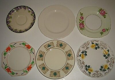6 Mixed Saucers Side Plates English Vintage Royal Doulton Roslyn Colclough +