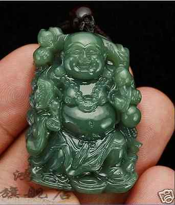 Chinese 100% Natural Fine Hand-carved Hetian Green Jade Buddha Pendant