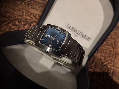 LONGINES - Genuine Ladies watch, blue face, stainless steel in box NEW not worn