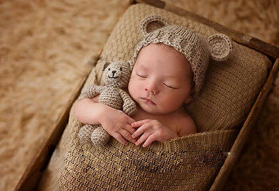 Newborn Baby Bear +Hat Set -Girl Boy Photography Prop Photo Crochet Knit Costume