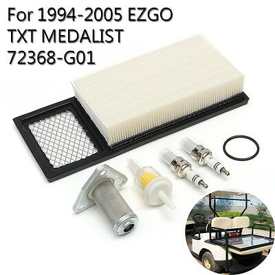 Tune Up Air Oil Fuel Filter Plug Kit For 94-05 EZGO TXT MEDALIST Gas Golf Cart