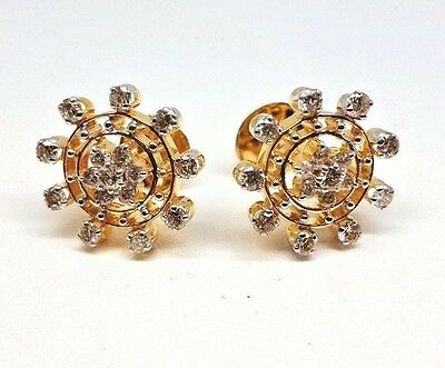 Diamond Snowflake Earrings - Yellow Gold - Screw Backs - 1ct (2060)
