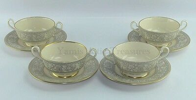 Franciscan China Grey Renaissance Cream Soup Bowl and Saucer Gold Trim Set of 4