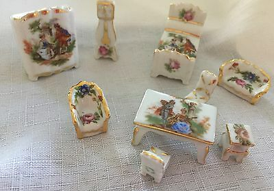 Limoges France Minature Dolls House Furniture.  In Ex. Cond. 9 Pieces