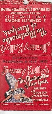 Jimmy Kelly's Montmartre of NY 181 Sullivan St. Greenwich Village NYC Matchcover