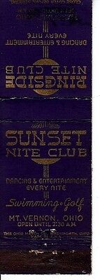 Sunset Nite Club Mt. Vernon Ohio OH Swimming Golf Dancing Old Matchcover