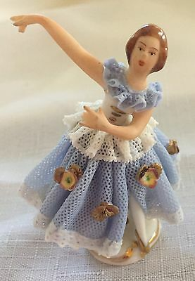 Dresden Porcelain Minature Ballerina Made In Germany In Ex. Cond.
