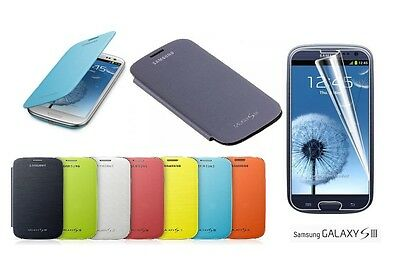 Samsung Galaxy S3 SIII IV I9300, Battery Flip Case Cover + Screen Protector