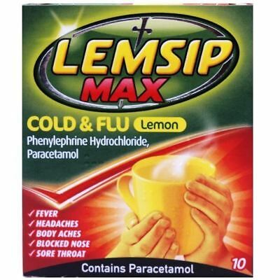 Lemsip Max Cold & Flu Lemon Hot Drink 10 Sachets 1 2 3 6 12 Packs