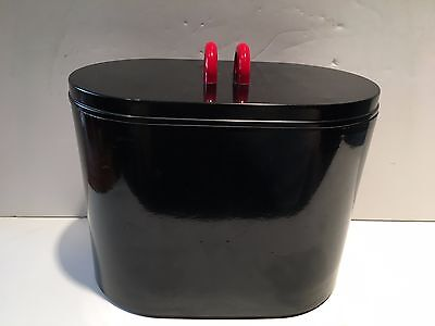 Mid-Century 60s Georges Briard Modernist Black & Red Lacquer-ish Oval Ice Bucket